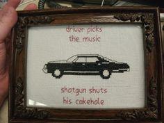 Driver picks the music ...JUST GOTTA LOVE SUPERNATURAL!!
