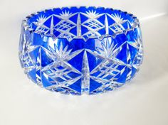 """Vintage Cobalt Blue Bohemian Cut Crystal Bowl by oldandnew8, $190.00  """"We have a bowl like this that we received as a wedding gift"""". At Christmas, we put little white lights & old glass ornaments in it. . .such SPARKLE!"""