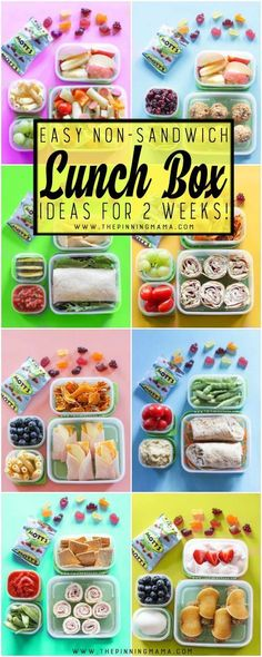 2 Whole weeks of Non-Sandwich - Easy to make - Super fun - Healthy Lunch Box ideas for kids. Forget boring sandwiches, your kids will love eating these lunches at school and I promise, they are all super easy to make! Whole weeks of Non-Sandwich - Easy to Non Sandwich Lunches, Lunch Snacks, Kids Healthy Lunches, Healthy Lunchbox Ideas, Healthy Kid Lunches, Kids Lunchbox Ideas, Easy School Lunches, Bento Ideas, Kid Snacks