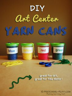 DIY Art Center Yarn Cans. A wonderful way to store yarn in your classroom art center. Great for little hands! Grab the FREE printable labels. - Education and lifestyle Preschool Classroom Centers, Art Center Preschool, Preschool Rooms, Kindergarten Art, Art Classroom, Art Activities, Preschool Activities, Classroom Organization, Preschool Homework