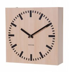 Karlsson Double Sided Square Wall Clock Light Wood at Contemporary Heaven UK Skeleton Wall Clock, Wall Clock Numbers, Wall Clock Light, Desk Mat, Wooden Clock, Jewellery Boxes, Modern Contemporary, Interior Architecture, Home Furnishings