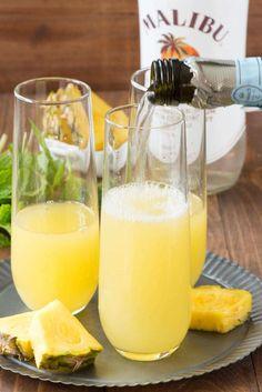 Hawaiian Mimosas with just three easy ingredients!
