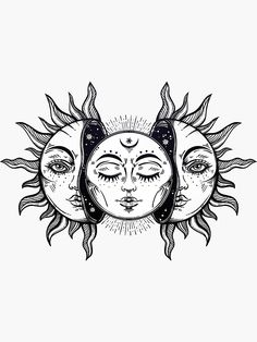 'Vintage Solar Eclipse Sun and Moon' Sticker by MagneticMama – Tattoo Sketches & Tattoo Drawings Trippy Drawings, Cool Art Drawings, Art Drawings Sketches, Tattoo Sketches, Tattoo Drawings, Moon Sketches, Tattoo Outline Drawing, Sun And Moon Drawings, Sun Drawing