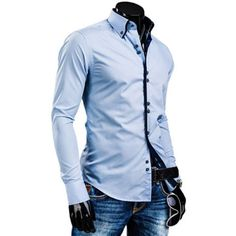 Stylish Shirt Collar Slimming Hit Color Placket Buttons Design Long Sleeve Polyester Shirt For Men, AZURE, 2XL in Shirts | DressLily.com