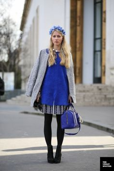 #PFW 14 #ParisFashionWeek #LauraTonder wearing #blue #floralcrown #flowers #streetstyle #blueklein and #grey #fashion two pearls #necklace #Chanel photo by #TheUrbanSpotter