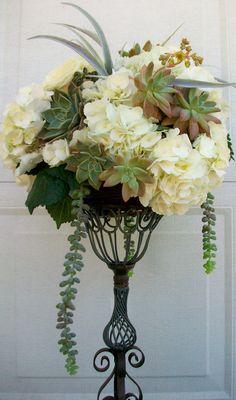 Reception White Hydrangea Succulents Tall Arrangement Wrought Iron Verdi Gris