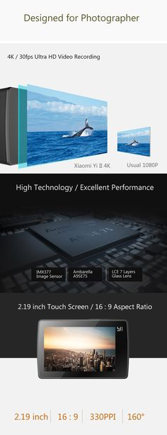 Original Xiaomi Yi II International Version WiFi 4K Sports Action Camera 155 Degrees Wide Angle-249.99 and Free Shipping | GearBest.com Mobile