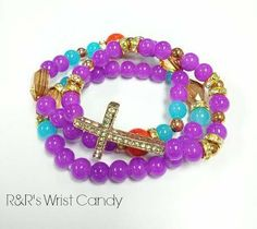 5319a14f9727 Raspberry Pizazz Cross Beaded Bracelet Set on Wanelo