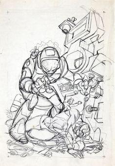 Original sketch and final cover by Gil Kane from Captain Marvel... Original sketch and final cover by Gil Kane from Captain Marvel #18 published by Marvel Comics November 1969.