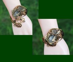 Steampunk Wire Wrap Adjustable Art Cuff Bracelet Quartz Crystal Dragonfly Button #jeanninehandmade #Wrap