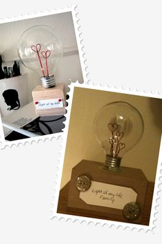 Love Lightbulb! I did it! The left is inspiration and right is mine. I did 4 hearts for parents and 2 kids and used buttons instead of pins hot glued. I also used a box turned over instead of a wooden box. It was easier for me. Next one I'll print text instead of my handwriting.