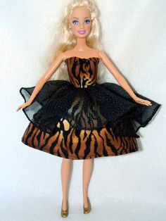 Barbie Dress Barbie Doll Clothes Tiger Print with Sparkly Lace