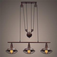 Retro Adjustable 3 Heads Lightings Retro Iron Pulley Pendant Lights Loft American Industrial Pulley Rope Antique Edison Lamps