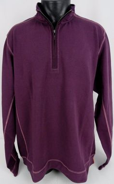 NWT Tommy Bahama Half Zip Ben & Terry Sweater LS Purple XXL Mens Stretch Cotton  #TommyBahama #12Zip