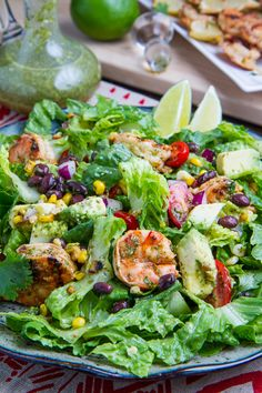 Chipotle Lime Grilled Shrimp Salad in Cilantro Lime Dressing - To make low carb leave out the black beans and corn.