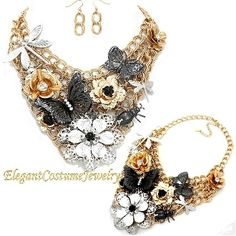 Flowers Butterfly  & Critters Statement Chunky Multi Metal Tone Bib Necklace Set Elegant Fun Jewelry $26.99