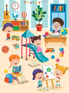 Little Children Studying And Playing At Preschool Classroom