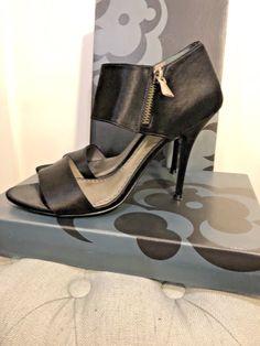 7e868816d9f7 Nordstrom Womens Black Satin Italian Leather Ankle Zipper Open Toe Heels  Size 9M  fashion