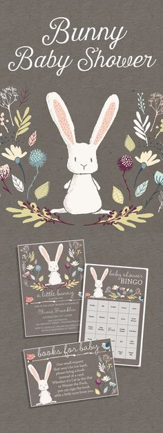 """Plan a memorable baby shower with your friends and family. Bunny themed invitation, Books for Baby Card, BINGO Game and """"Hello Baby"""" Banner."""