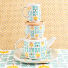 Mug vintage à fleurs en faïence bleu BRIGITTE   Maisons du Monde