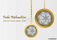 Vektor: Weihnachtskarte - Weihnachtskugeln (Gold)