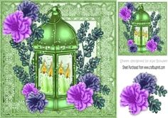 pretty lime  lantern with candles and  flowers in ornate frame 8x8 on Craftsuprint - View Now!