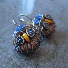 Blue & Brown Owl Earrings | par RenGalSA