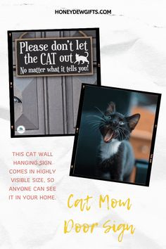 Hang this sign at home or make a cat lover happy by gifting them this sign. Crafted from the highest-quality medium-density fiberboard and jute rope, this hanging wooden sign is built to last. Even at a distance, this hanging cat sign is sure to catch anyone's attention. This makes it a great hanging sign on your main door or porch. This will serve as your subtle reminder that you have fur babies roaming around your vicinity.