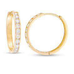 These cubic zirconia channel-set hoop earrings are set in gold and secure with hinged backs. Pagoda Jewelry, Fashion Earrings, Fashion Jewelry, Earring Backs, Designer Earrings, Ear Piercings, Round Diamonds, Gold Earrings, Hoop