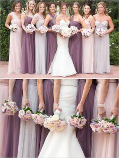 Elegant floor length bridesmaid dresses in purple and pink. @weddingchicks