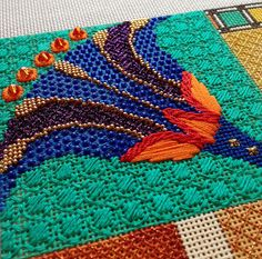 It's not your Grandmother's Needlepoint: Jeweled Lotuses