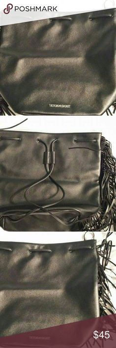 VICTORIA SECRET LEATHER BACKPACK /PURSE Very nice leather with fringes on both sides Victoria secret Bags