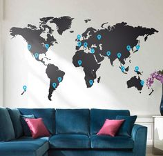 World Map Decal. Large World Map x M / 7 x Vinyl Wall Sticker decal. Easy install World map wall decor. World Map Wall Sticker. World Map Wall Decor, World Map Decal, Wall Maps, Deco Scrabble, Vinyl Wall Stickers, Wall Decals, Bedroom Stickers, Vinyl Art, Wall Mural