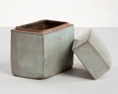 Ceramic Box By Hun-Chung Lee [don't know the age or cone temp but I like the simple design and locking lid, as well as the colour!]