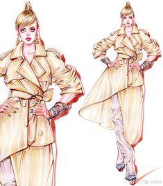 微博 Fashion Design Drawings, Fashion Sketches, Art Sketches, Art Drawings, Fashion Illustrations, Drawing Fashion, Fashion Art, Womens Fashion, Fashion Sketchbook