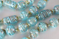 Vintage Venetian Murano Aventurine Aqua Blue Glass by RMSjewels, $195.00
