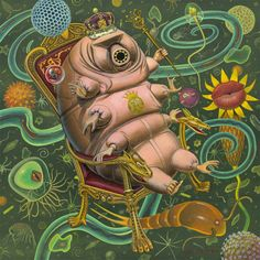 Own a piece of the delicious surrealism of Thomas A. Gieseke: The Tardigrade Queen Illustration, Drawings, Painting, Juxtapoz, Art, Surreal Scenes, Water Bear, Interesting Art, Weird Creatures