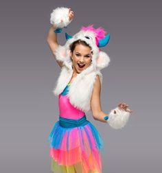 Chloe East on Snow Monster, Monster Eyes, Monster Girl, Monster Costumes, Girl Costumes, Dance Costumes, Hot Pink Skirt, Pink Leotard, Famous Dancers