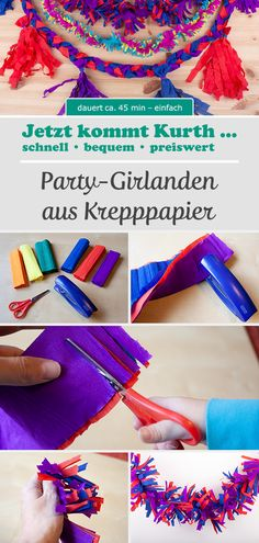 Party garlands made of crepe paper - for the right New Year& decoration, garlands are . - Party garlands made of crepe paper – garlands are simply a MUST for the right New Year& dec - How To Make Garland, Diy Garland, Crepe Paper Garland, Diy For Kids, Crafts For Kids, Party Girlande, Diy And Crafts, Paper Crafts, New Years Decorations