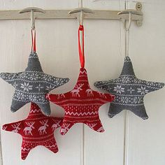 sweater star - this item is no longer available for sell. BUT - get a couple of goodwill sweaters or clean out your winter stash(don't forget to ask family and neighbors) a cardboard template, some stuffing and hanging ribbon are all you need. If sweaters are limited, just use sweater for front of star and use another solid fabric/felt for the back. Happy Crafting!.