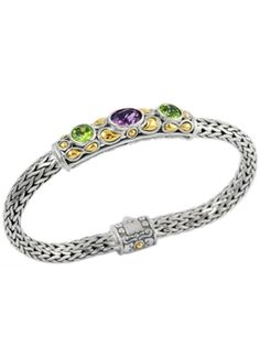 Cydonia 925 Sterling Silver and 18K Gold Amethyst and Peridot Bracelet in 2011 from Cydonia on shop.CatalogSpree.com, my personal digital mall.