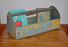 Galvanized Metal Carrier, Tool Box, Rustic Industrial Yellow and Grey Metal Planter, Rusty Metal Porch Patio Decor, Farmhouse Garden Tote - SOLD! :)