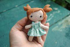Mini 4 Inch Felt Doll Hand Stitched Pocket Doll by DelilahIris