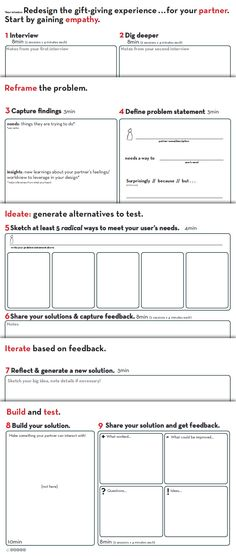 Worksheet | provided by D.School Stanford http://dschool.stanford.edu/dgift/