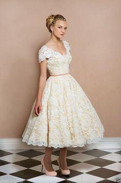Vintage Lace Cap Sleeve Short Wedding Dress Bridal Gowns Size 6-16