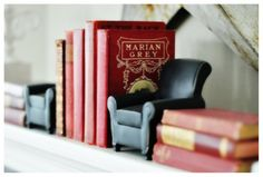 Marian Grey with little reading chair bookends I Love Books, My Books, Overstuffed Chairs, It Goes On, Book Projects, Reading Room, Book Nooks, Upholstered Chairs, Book Nerd