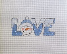 Blue Snow Snowman LOVE Handpainted Needlepoint by MarsyesShoppe
