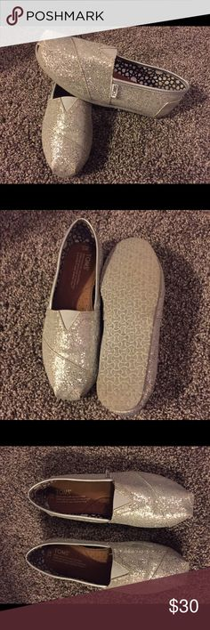 Sequined TOMS Size 7W. GUC. Only worn a handful of times. TOMS Shoes Flats & Loafers