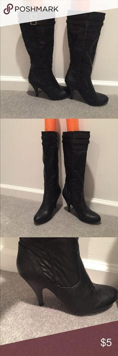 Black Fergalicious High Heeled Boots These are black size 7 Fergalicious women's knee high heeled boots. They zip up the side and are great black boots with a cute buckle detail on the top. They have some wear on the side of the toes but overall are in good condition except for the heel caps are worn, as pictured. Price reflects wear, selling as is, let me know if you have a question. Fergalicious Shoes Heeled Boots