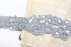 Gray Flower with Light Pearl Beading Sash by lovelikestyle
